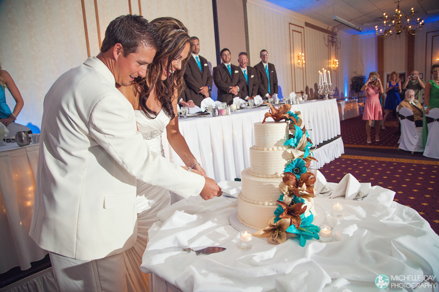 Gorgeous wedding cake in Buffalo, NY by Buffalo, NY wedding photographer Michelle Day